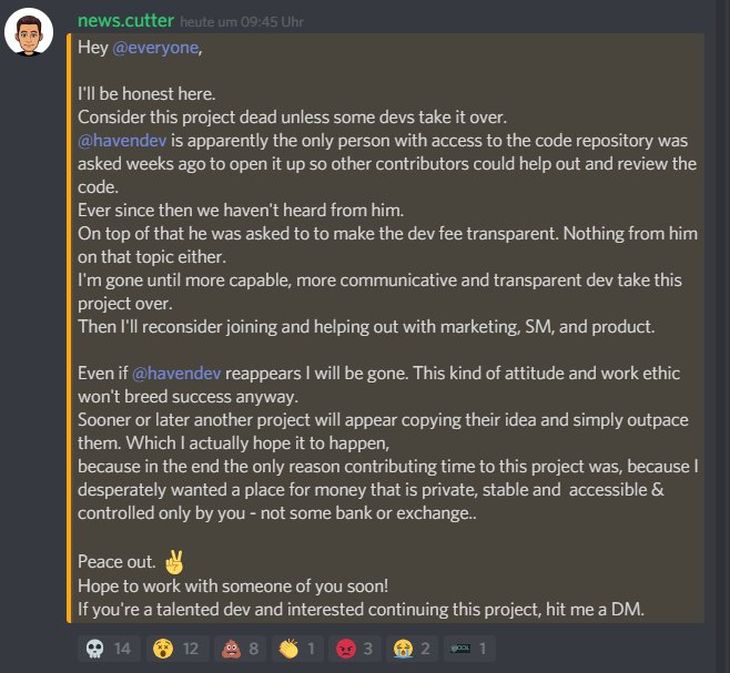 Haven Protocol XHV scam