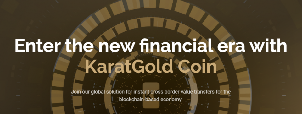 Thuispagina van Karatbit met de tekst 'Enter the new financial era with KaratGold Coin'.
