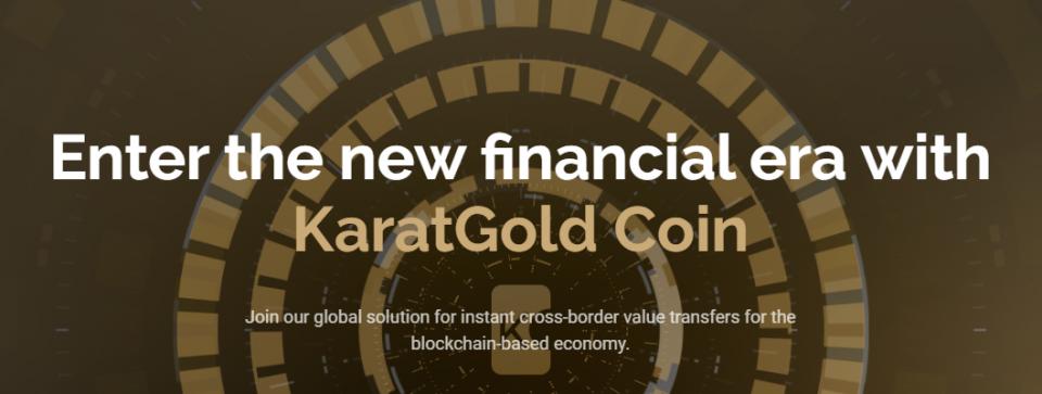 Thuispagina van Karatbit met de tekst 'Enter the new financial era with KaratGold Coin'.